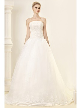 Gorgeous Ball Gown Bowknot Strapless Chapel Dashas Wedding Dress