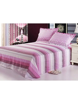 Excellent Pink Horizontal Stripes Cotton Sheet Set