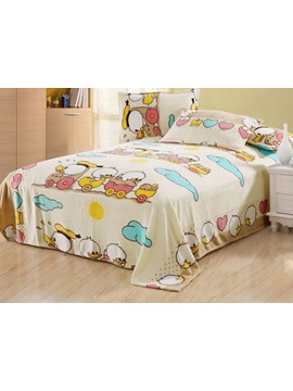 Vivid And Ducks Printed Flannel Sheet