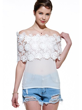 Lace Crochet Off-Shoulder Blouse