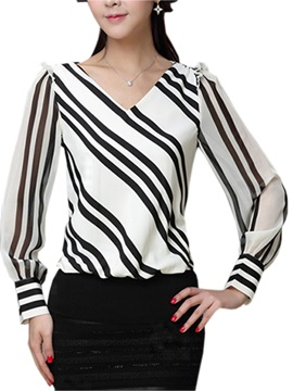 Chic V-Neck Slim Blouse