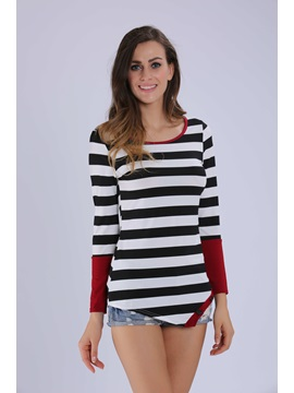 Button Decoration Hem Stripe T-Shirt