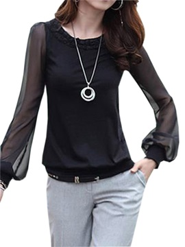 Stylish See-through Lantern Sleeves T-Shirt
