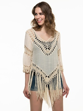 Cut-Out V-Neck Tassel Women Blouse