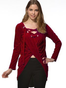 Special Solid Color Long Sleeve V Neck T-shirt