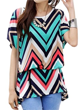 Stylish Color Stripe Short Sleeves Blouse