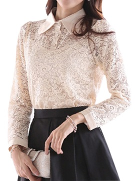 Chic Button Decoration Slim Lace T-Shirt