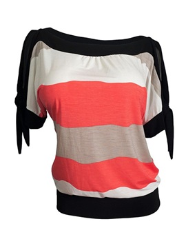 Chic Color Stripe Short T-Shirt