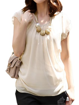 Stylish Pleated Round Neck Loose Blouse