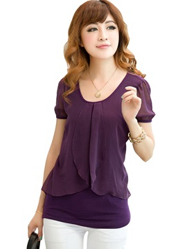 Solid Color Short Sleeve Chiffon Women's Blouse
