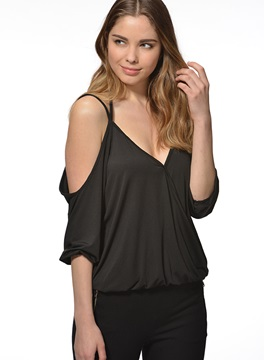 Sexy Collar off-Shoulder Short T-Shirt