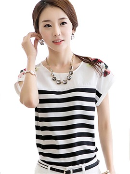 Chic Shoulder Printing Zebra-Stripe Blouse