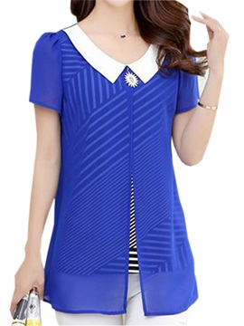 Chic Peter Pan Collar Double-Layer Blouse