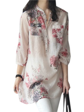 Floral Print Straight Three-Quarter Sleeve Women's Blouse