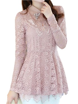 Splendid Collar Slim Lace Blouse