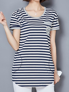 Casual Pocket Decoration Stripe T-Shirt