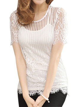 Sexy See-through Fabric Lace T-Shirt