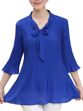 Special Pleated Fabric Lace-up Collar Blouse