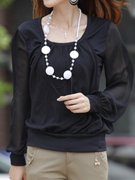 See-through Sleeves Pleated Collar T-Shirt