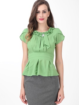 Chic Pleated Decoration Collar Slim Blouse