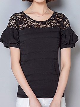 Special Sleeves Lace Collar T-Shirt