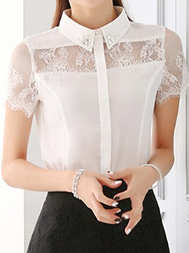 See-through Lace Sleeves Shirt