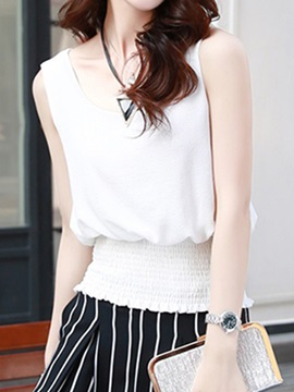 Special Hem Sleeveless Short Blouse