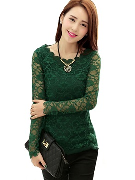 See-through Lace Sleeves T-Shirt