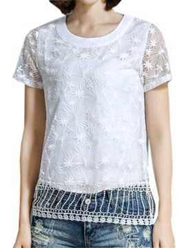 Stylish Hollow Hem Short Blouse