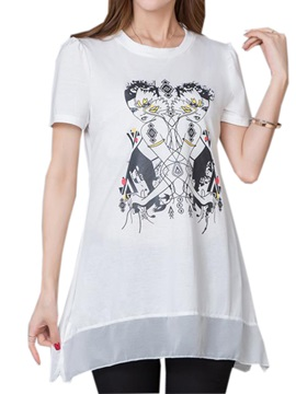 Cool Pattern Chiffon Hem T-Shirt