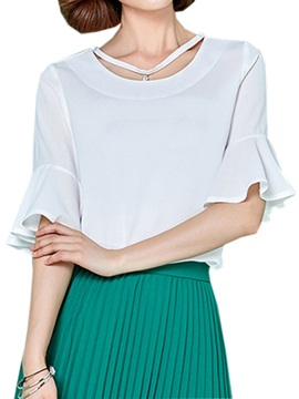 Stylish Collar Flare Cuff Blouse