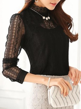 Stylish Lace Sleeves Stand Collar Slim T-Shirt