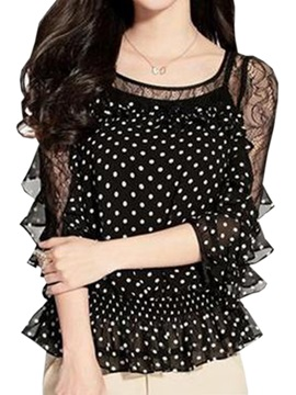 Stylish See-through Sleeves Polka Dots Blouse