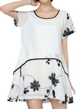 Chic Floral Printed Hem Double-Layer Blouse