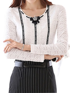 Stylish Decoration Collar Slim Lace T-Shirt