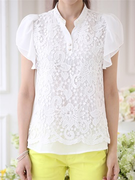 Stylish Chiffon Petal Sleeves Blouse