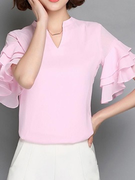 Special Collar Double-Layer Cuff Blouse