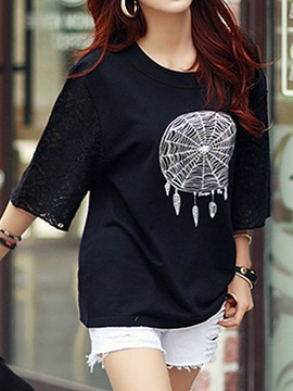 Cool Pattern Lace Sleeves T-Shirt