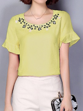 Stylish Bead Decoration Collar Short Blouse