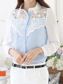 See-through Lace Decoration Collar Slim Shirt