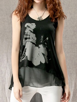 Special Pattern Double-Layer Hem Tank Top