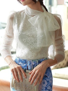 Lace-up Collar See-through Sleeves Blouse