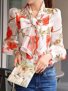 Bowknot Decorated Long Sleeve Printed Blouse
