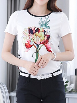Front Printed Short Sleeve Blouse