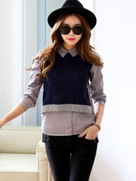Stylish Double-Layer Long Sleeve Blouse