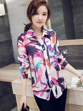 Stylish Flower and Bird Printed Long Sleeve Shirt