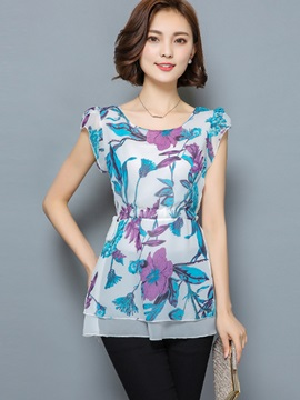 Stylish Solid Color Floral Print Slim Blouse