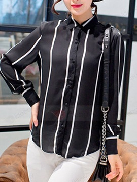 Stylish Wide Stripe Chiffon Shirt