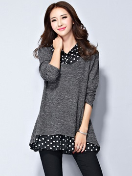Stylish Patchwork Double-Layer Blouse