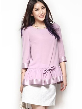 Stylish Bowknot Decorated Hemline Blouse